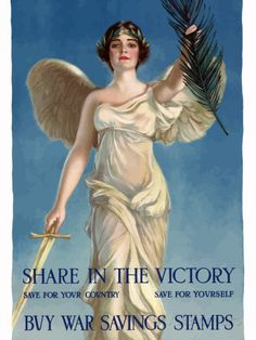World War One Poster of Lady Liberty Holding a Sword And An Olive Branch Photographic Print by Stocktrek Images at AllPosters.com