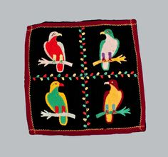 Decorative Pillowcase with Needlepoint Parrots Design
