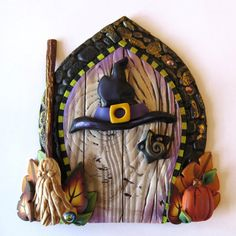 Witch Hat and Broom Halloween Door, Holiday Decor Pixie Portal, Home Decor, Fairy Garden Accessory, Polymer Clay Miniature