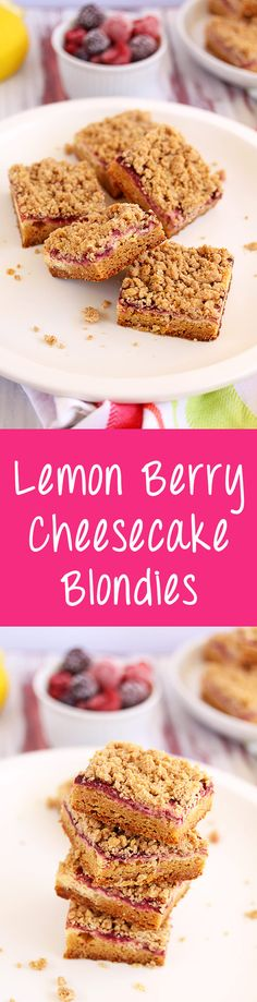 Lemon Berry Cheesecake Blondies by Sugar Salt Magic. Recipe for Blondies, topped with, cheesecake, a berry syrup and a crispy crumb. via @sugarsaltmagic