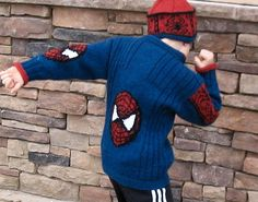 """Free knitting pattern for Spiderman inspired jacket in adult and child sizes """"Web Spinner"""" pattern by Irene Johnston and more super hero knitting patterns at http://intheloopknitting.com/super-hero-knitting-patterns/"""