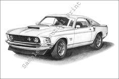 An awesome of a Mustang Ford Mustang 1969, Mustang Mach 1, Ford Mustang Fastback, Mustang Cars, Mustang Tattoo, Mustang Drawing, 1 Tattoo, Jewel Tattoo, Cool Car Drawings