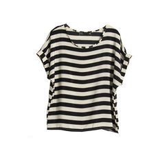 Oversized Stripes Black T-shirt (98 BRL) ❤ liked on Polyvore featuring tops, t-shirts, shirts, blusas, women, t shirt, scoop neck tee, striped t shirt, striped tees and chiffon t shirt