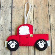 Personalized Felt Truck Christmas Ornament by PaisleyMoose on Etsy https://www.etsy.com/listing/240347250/personalized-felt-truck-christmas