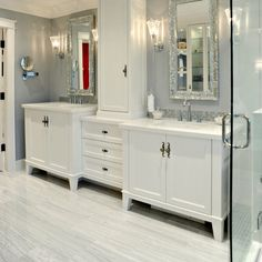 LOVE LOVE this style flooring, shaped like wide plank hard wood floor that looks like white, veiny, tile!!!