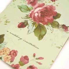 French Shabby Chic Style rose wedding stationery #wedding