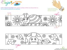Kindergarten First Grade Animals Paper Projects Worksheets: Make Fun Bug Bracelets Worksheet Bug Crafts, Paper Crafts, Grouchy Ladybug, Art For Kids, Crafts For Kids, Kindergarten Coloring Pages, Paper Bracelet, Summer Crafts, Activities For Kids