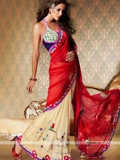 Beautiful beige and red shade saree designed with silver sequins and thread work. Contrast patch at border looks attractive. Perfect selection for wedding function. http://goodbells.com/saree/beautiful-red-and-beige-saree.html