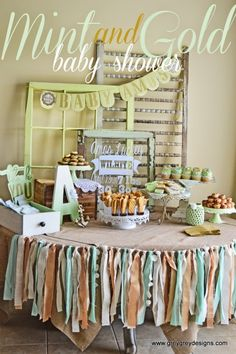 Mint and Gold Baby Shower | Shop. Rent. Consign. MotherhoodCloset.com Maternity Consignment