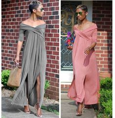 Slit Women Solid Casual Long Dress with Sleeves for Autumn L0136
