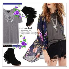 """""""floral kimono and boots with fringes"""" by paculi ❤ liked on Polyvore featuring MANGO and nastydress"""