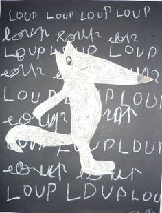 Loup décalqué dans un album puis recouvert de papier journal déchiré, puis collé sur fond noir où les enfants ont écrit le mot Loup. Creative Thinking, Creative Kids, Wolf, Cute Illustration, Graphic Design Illustration, Grade 1 Art, Ecole Art, Arts Ed, Red Riding Hood