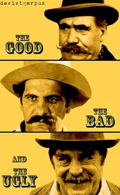 The good the bad and the ugly Cinema Posters, Film Posters, Clint Eastwood, Cool Posters, Funny Games, Film Movie, Movie Quotes, Caricature, Being Ugly