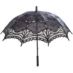 NCIS Abby Black Lace Parasol (360 CZK) ❤ liked on Polyvore featuring accessories, umbrellas, gothic umbrella, lace umbrella, black lace umbrella and black umbrella