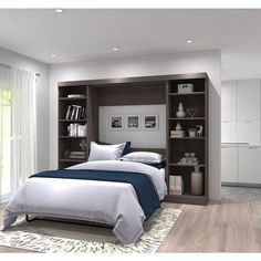 With the Bestar Pur V Storage Unit Murphy Wall Bed , there's no reason why you can't have a modern home office or living room during the day and a comfortable. Small Bedroom Storage, Small Room Bedroom, Small Rooms, Gray Bedroom, Kids Bedroom, Master Bedroom, Bedroom Furniture, Bedroom Decor, Bedroom Ideas