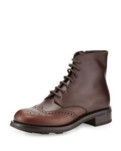 Prada Gradient Leather Wing-Tip Lace-Up Boot, Brown, Men's, Size: 10/11.0US
