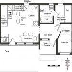 Plano de casa moderna con loft en la planta superior