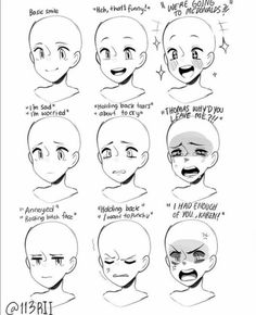 Degrees of Emotion - Reference - Tutorial, emotions, drawing, art. Drawing Face Expressions, Anime Faces Expressions, Anime Face Drawing, Drawing Techniques, Drawing Tips, Manga Drawing Tutorials, Poses References, Drawing Reference Poses, Anatomy Reference