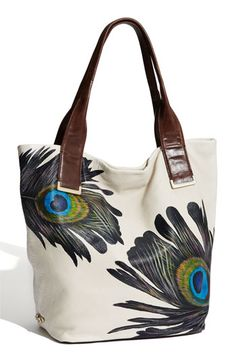 Elliott Lucca 'Intreccio' Leather Tote: Oh, peacock! Peacock Purse, Summer Brown, Spring Purses, Peacock Feathers, Peacock Print, Peacock Design, Lucca, Purses And Handbags, Tote Bag