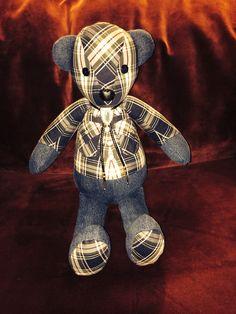 Denim and plaid memory bear www. Teddyangels.com