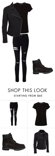 """""""All Black No.2"""" by jackypie ❤ liked on Polyvore featuring Miss Selfridge, Vince, Timberland and plus size clothing"""