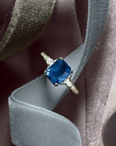 Blue Sapphire Emerald Cut Engagement Ring from OGI