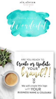 SIX ELEVEN DESIGNS - Premade Logos on Etsy - Modern Branding Solutions for your business - Logos for your business, boutique or blog. Blogger header, Blog Header and social media. Photography Logos, Business Logos, Boutique Logos, Shop Logos, Brand Logos. Watercolour, Watercolor, Aqua, Blue