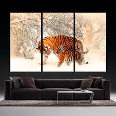 Tiger Famile Framed Canvas Print/ Large Giclee Print/ Big Cat Animal Wild Jungle / fine art print/ multi panel canvas / Home Decor by…