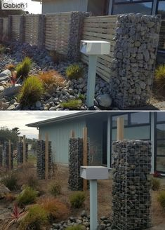 Gabion rock columns and timber fence Gabion Fence, Timber Fencing, Gabion Wall, House Fence Design, Stone Fence, Metal Screen, Picture Wall, Architecture Design
