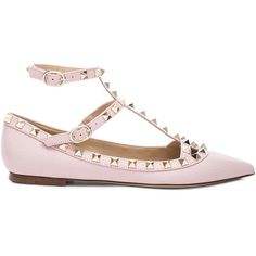 Valentino Rockstud Leather Cage Flats (45,625 PHP) ❤ liked on Polyvore featuring shoes, flats, flat pumps, valentino shoes, leather flats, metallic flats and metallic shoes