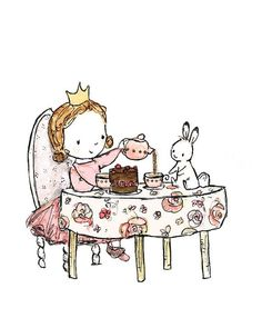 Royal Tea Party -- 8x10 Archival Print -- Children's Art