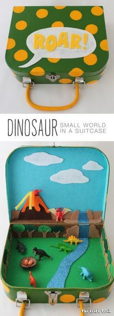 Dinosaur small world in a suitcase - perfect way to upcycle an old suitcase (or even lunchbox) and create a travel toy for the kids