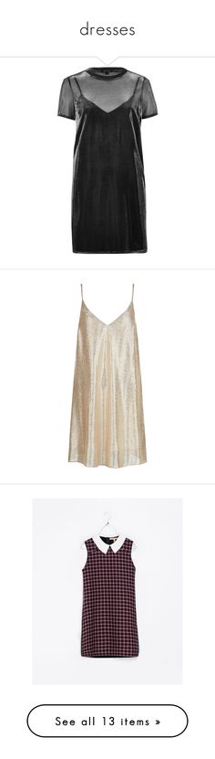 """dresses"" by stina-sward on Polyvore featuring dresses, t shirt dress, gray dress, oversized t shirt dress, grey t shirt dress, sheer overlay dress, gold, gold mini dress, metallic cocktail dress and mini party dresses"