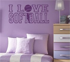 I LOVE SOFTBALL with Softball Pitcher Vinyl Wall by NewWaveSigns