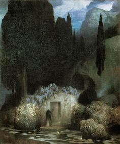 A not well-known painter : Ferdinand Keller He painted this picture as a homage to Arnold Böcklin. Oil on panel [link] The Tomb of Bocklin by Ferdinand Keller Ferdinand, Landscape Art, Landscape Paintings, Landscape Architecture, Landscapes, Carl Spitzweg, Art Visionnaire, Traditional Paintings, Visionary Art