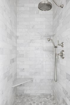 white bathroom Interior Design Ideas: Grey Shingle Home - Home Bunch Interior Design Ideas Bad Inspiration, Bathroom Inspiration, Shower Remodel, Bath Remodel, Bathroom Interior Design, Home Interior, Marble Interior, Bathroom Styling, Gray Shower Tile