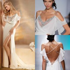 Online Shopping Ivory Chiffon Beach A Line Wedding Dresses Sexy Slit Sheer Crystal V neck off the shoulder Criss-cross Bridal Gown With flounced SleeveHH212 216.76 | m.dhgate.com