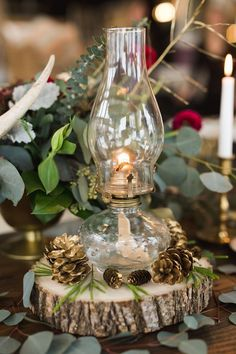 rustic fall wedding centerpiece…