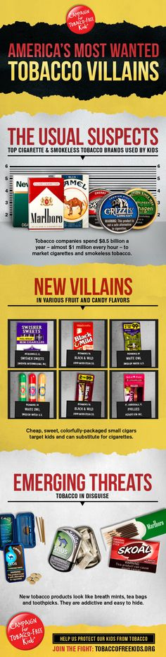 """Happy Kick Butts Day, Alaska! Americas Most Wanted Tobacco Villains from the Campaign for Tobacco-Free Kids  Check out this great infographic highlighting a new report, """"The Usual Suspects, New Villains and Emerging Threats."""" There's some disturbing information about how tobacco companies are marketing to kids."""