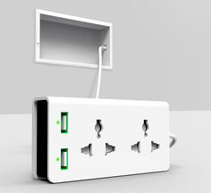 Clever design that marries the multi-tap, extension cord and USB socket into one convenient package. #gadget #design #greatidea