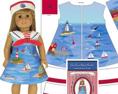 "18"" Doll Clothes Sail Away Dress and Hat, Nautical Pattern Printed on Fabric Panel, Sewing Guide and Notions Included"
