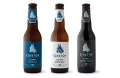 """""""Auston Design Group developed the branding and beer label design for this new high-end luxury import. This fall, Einstök launched their White Ale, Pale Ale and Toasted Porter in Iceland and the UK. They will be released in the U.S this winter."""