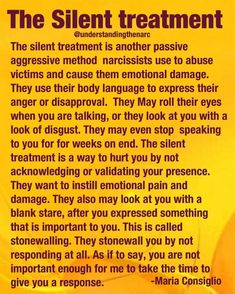This was one of the worst he used to do to me. Start the silent treatment without telling me why. It would last days and I would cry. Then he would finally blow up on me and say horrible things about me. Get ever madder if I cried. Narcissistic People, Narcissistic Mother, Narcissistic Behavior, Narcissistic Abuse Recovery, Narcissistic Sociopath, Narcissistic Personality Disorder, Sociopath Traits, Narcissistic Men Relationships, Paz Mental