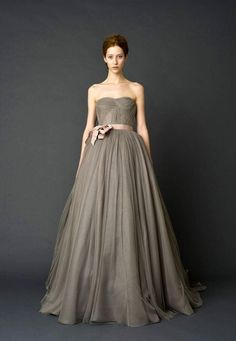 grey charcoal wedding dress by Vera Wang. hmmmmm . . .. with an orange tie? or similar
