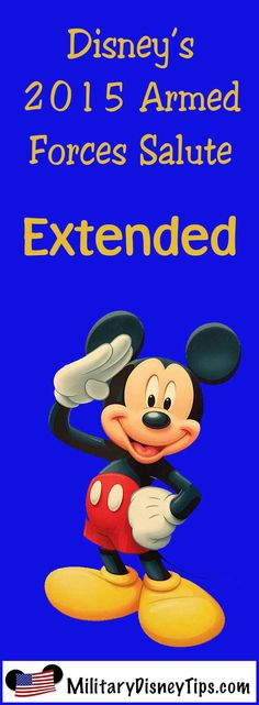 Disney Has Extended the Disney Armed Forces Salute! The hugely popular Disney Armed Forces Salute has been extended through just prior to Christmas 2015. See the full details and what this means here:  http://www.militarydisneytips.com/blog/disney-armed-forces-salute/disneys-armed-forces-salute-has-been-extended/