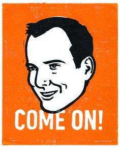 GOB Bluth from Arrested Development Lino Cut Print. COME ON. $15.00, via Etsy.