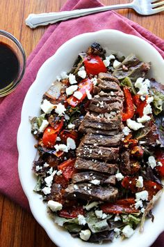 Grilled Balsamic Steak Salad...with herbed feta cheese! Good for summer and autumn meals!
