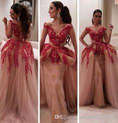 Wholesale Evening Dresses - Buy Gorgeous Celebrity Party Dresses Lace Appliques V Neck Ball Gown Detachable Long Red Evening Prom Dress Gown Myriam Fares 2014, $186.14   DHgate