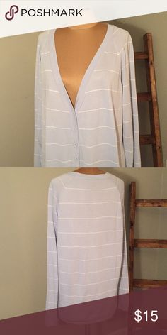 Talbots V-Neck Cardigan Soft - Pale Blue w/ Thin White Stripe 60% Cotton/ 40% Rayon Talbots Sweaters Cardigans
