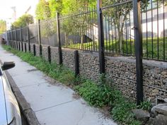gabion fence west end approx 900 h to top gabion